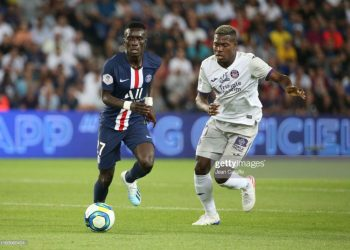 PARIS, FRANCE - AUGUST 25: Idrissa Gueye of PSG during the French Ligue 1 match between Paris Saint-Germain (PSG) and Toulouse FC (TFC) at Parc des Princes stadium on August 25, 2019 in Paris, France. (Photo by Jean Catuffe/Getty Images)