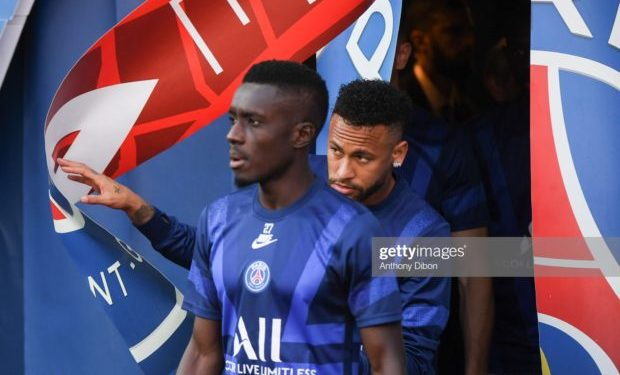 Idrissa GUEYE and Neymar JR of PSG during the Ligue 1 match between Paris Saint Germain and Strasbourg on September 14, 2019 in Paris, France. (Photo by Anthony Dibon/Icon Sport via Getty Images)